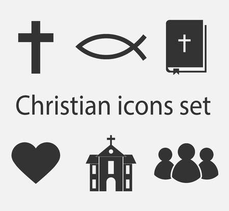 현대 기독교 아이콘을 설정합니다. 기독교 기호 및 기호 컬렉션입니다. 벡터 일러스트 레이 션.