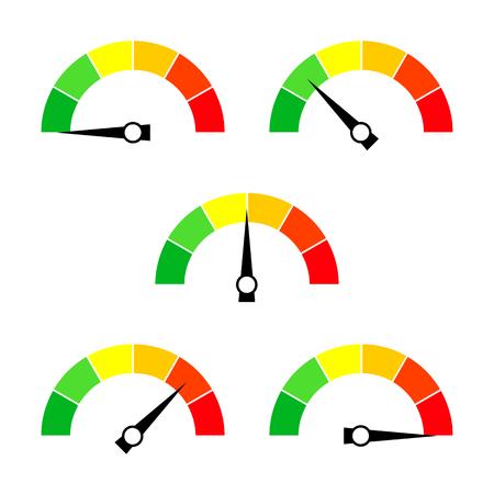 Icône du compteur de vitesse ou signe avec la flèche. Collection d'élément de jauge d'infographie coloré. Illustration vectorielle.