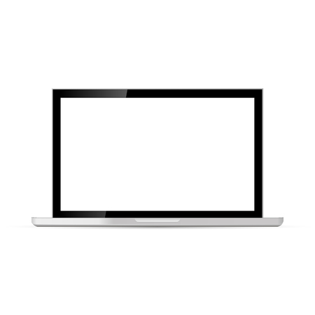 Laptop with blank screen isolated on white background. Vector illustration.