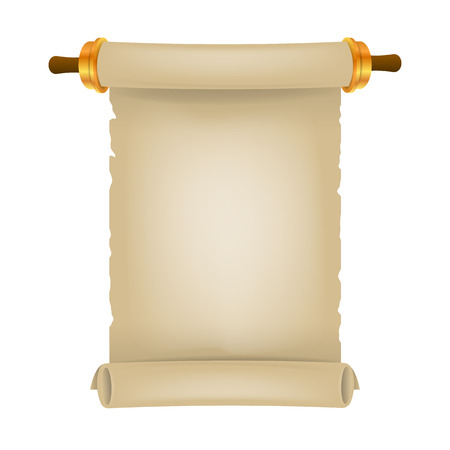 Old scroll with place for text. Parchment realistic. Vintage blank paper scroll isolated on white background. Vector illustration. Eps 10 3d Illustration