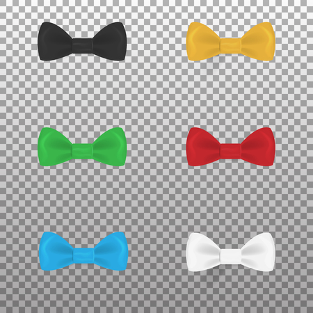 Set of colorful realistic bow ties isolated on background. Vector illustration. Eps 10.