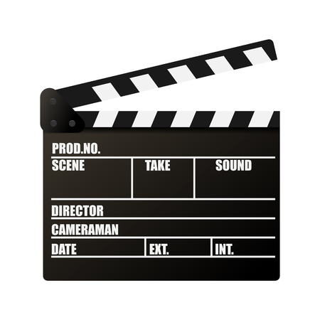 Clapperboard. Movie production sign. Video movie clapper equipment. Filmmaking device. Isolated on background. Vector illustration, eps 10.