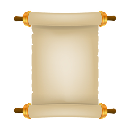 Old scroll with place for text. Parchment realistic. Vintage blank paper scroll isolated on white background. Vector illustration. Eps 10 3D. Ilustração