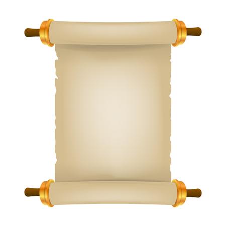 Oude scroll met plaats voor tekst. Perkament realistisch. Uitstekende lege document rol die op witte achtergrond wordt geïsoleerd. Vector illustratie. Eps 10 3D.