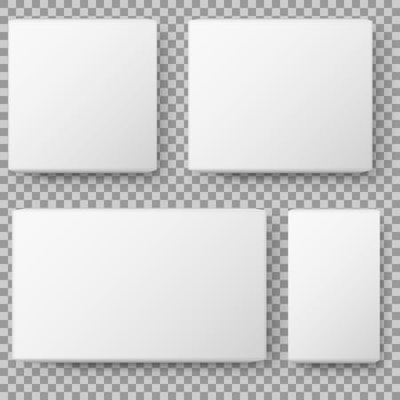 Boxweergave. Realistische witte lege pakket kartonnen doos. geïsoleerd op transparante achtergrond. Vector illustratie.