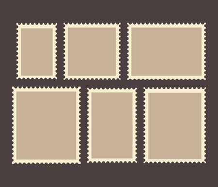 Blank Postage Stamps Frames Set isolated on background. Ilustrace