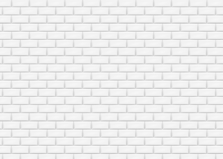 White brick wall in subway tile pattern. Vector illustration. Eps 10. Vettoriali