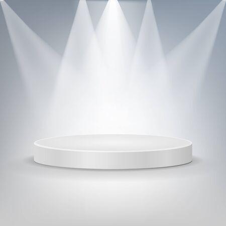 Round podium illuminated by searchlights. Vector illustration. Eps 10. 일러스트