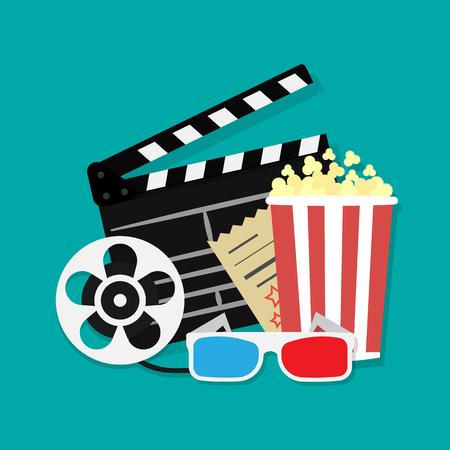 Big open clapper board Movie reel Cinema icon set. Movie and film elements in flat design. Cinema and Movie time flat icons with film reel, popcorn, 3d glasses, clapperboard. Vector illustration. Illustration