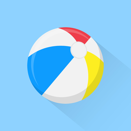 beachball: Beach ball flat icon with long shadow isolated on background. Vector illustration. Eps 10.