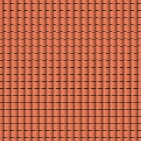 exterior architectural details: Red roof tiles background texture in regular rows.Seamless pattern.