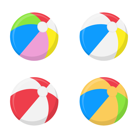 A selection of beach balls in multiple colors isolated on white background.