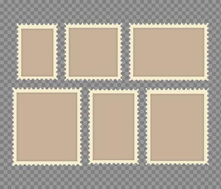 Blank Postage Stamps Frames Set isolated on transparent background.