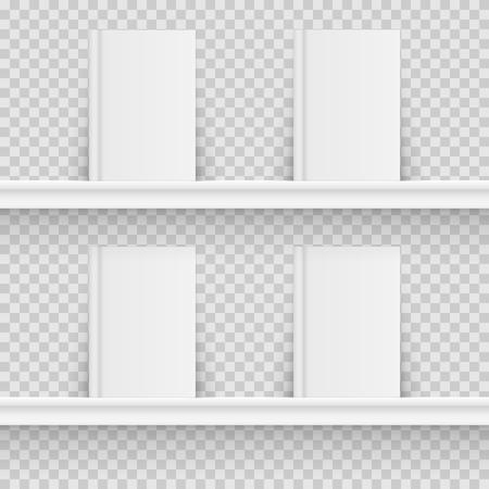 Blank book on book shelf. Hardcover Book Mock-Up isolated on transparent background. Vector illustration. Eps 10 Illustration