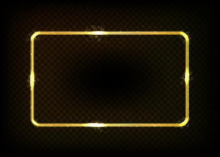 Cornice quadrata con luci luci isolato su sfondo trasparente. illustrazione vettoriale EPS 10 Archivio Fotografico - 83262581