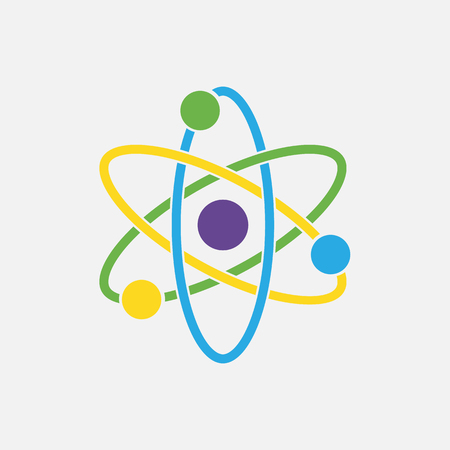Atom icon. Nuclear icon. Electrons and protons. Science sign. Molecule Icon isolated on grey background.