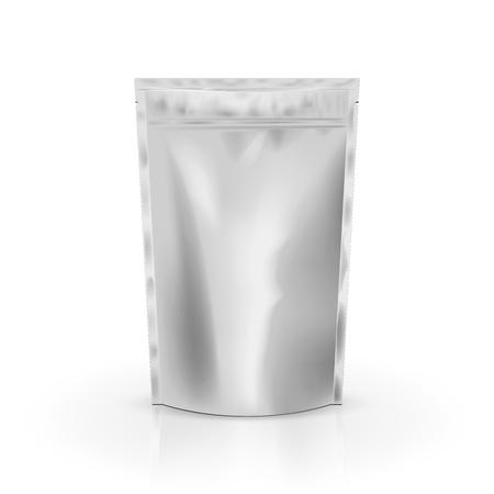 Lege folie voedsel of drinken zak verpakking met klep en zegel. Lege folie plastic zak koffiezak. Mockup-collectie voor verpakkingssjablonen. geïsoleerd op achtergrond. Vector illustratie.