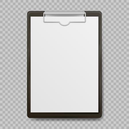 Schwarzes Klemmbrett mit dem leeren weißen Blatt befestigt auf transparentem Hintergrund. Vektor-Illustration.