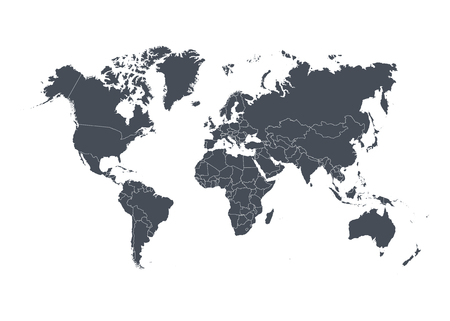 World map with countries isolated on white background. Vector illustration. Ilustrace