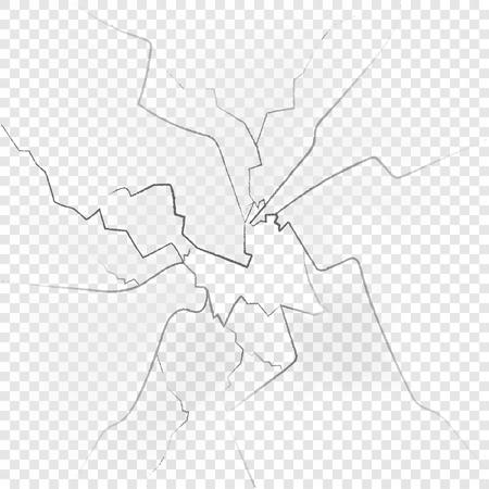 Vetri rotti isolati su sfondo trasparente. Illustrazione vettoriale