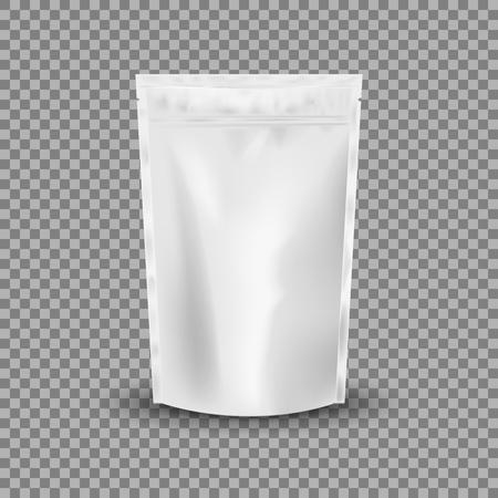 Leeres Folien-Lebensmittel oder Getränk-Taschen-Verpackung mit Ventil und Dichtung. Plastikbeutelbeutel der leeren Folie. Verpackungsschablonen-Modellsammlung. isoliert auf transparentem Hintergrund. Vektor-Illustration.