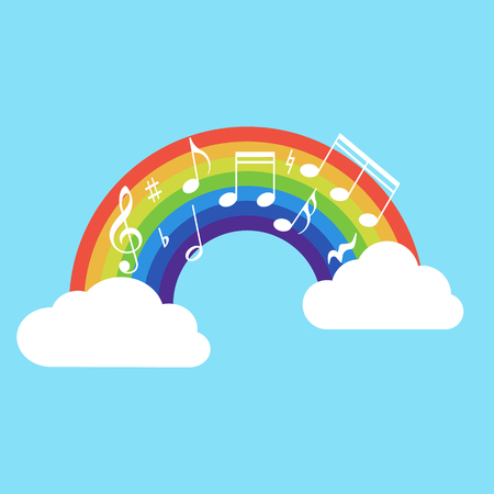 Happy rainbow with music note isolated on background. Vector illustration.