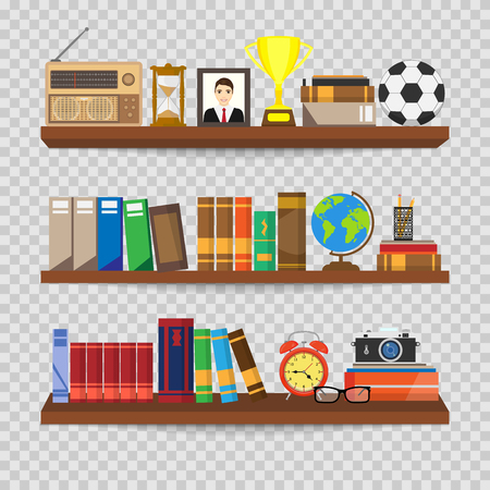 Book shelf. Bookstore indoor. Bookshelves with different books set. Home library interior. Reading and learning, knowledge and education.isolated on transparent background. Vector illustration. Ilustrace