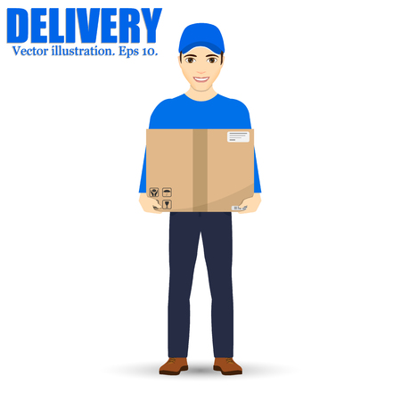 post man: Delivery man isolated on background. Vector illustration. Smiling Courier Delivering Packages.