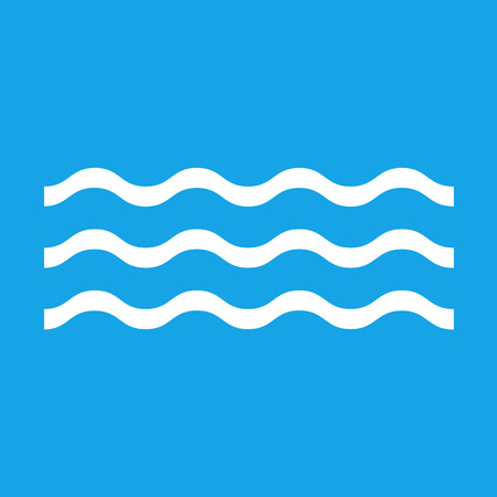 Wave icon isolated on blue background. Vector illustration.