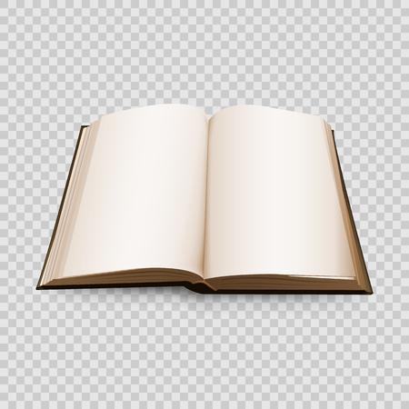 Open boek 3d geïsoleerd op transparante achtergrond. Vector illustratie. Stock Illustratie
