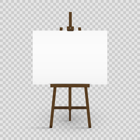Blank canvas on a artist' easel. Blank art board and wooden easel isolated on transparent background. Vector illustration. Stock Illustratie