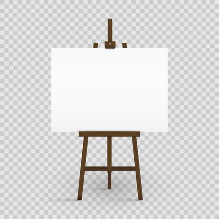 Tela bianca sul cavalletto di un artista. Scheda di arte in bianco e cavalletto in legno isolato su sfondo trasparente. Illustrazione vettoriale Vettoriali