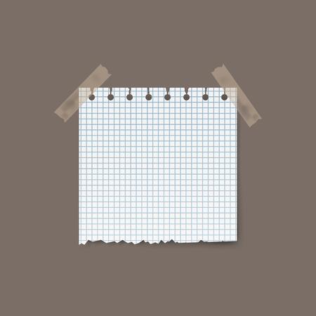 背景に孤立した現実的な正方形の破れた紙のピース。ベクターイラスト。  イラスト・ベクター素材