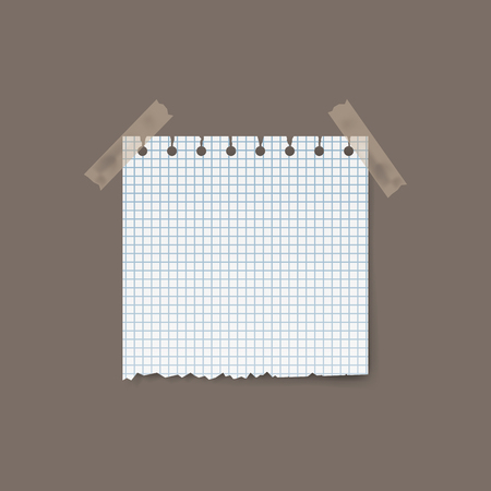 Blank realistic squared torn paper piece isolated on background. Vector illustration.