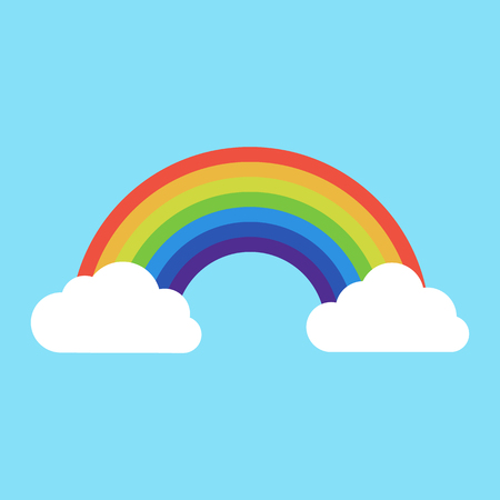 rainbow with clouds icon. isolated on background. Vector illustration. 向量圖像