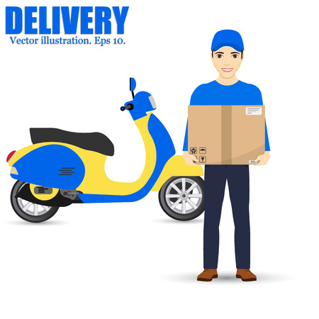 Delivery man and track. Service fast delivery. Delivery scooter. isolated on background. Vector illustration.