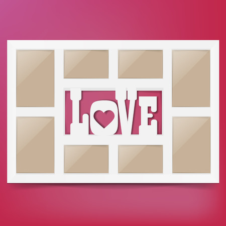 happy family: Multi frame set with empty space.Love photo frame. Photo frame collage. Multi frame for several photos. isolated on background. Vector illustration.