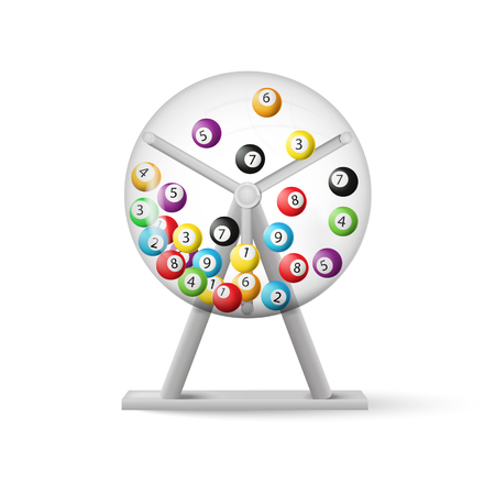 3D-Rendering von Lotterie-Maschine mit Bälle nach innen isoliert auf weißem Hintergrund. Vektor-Illustration. Eps 10. Standard-Bild - 87339867