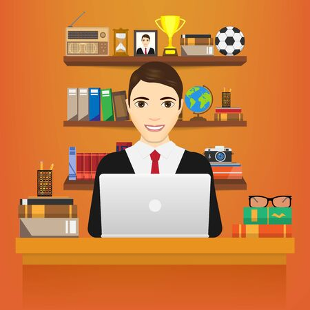 education concept: Man with laptop. Business man in a suit working on a laptop computer at his office desk. isolated on white background. Vector illustration. Eps 10.