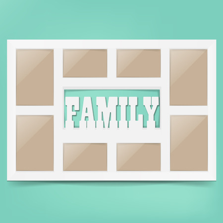 happy family: Multi frame set with empty space. Family photo frame. Photo frame collage. Multi frame for several photos. isolated on background. Vector illustration. Eps 10.