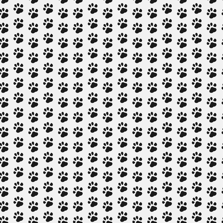 silueta de gato: Paw print seamless. Dog and Cat footprint seamless pattern. Vector illustration. Eps 10.