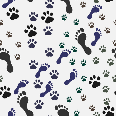silueta de gato: Seamless background with footprint of cat and dog and man. Vector illustration. Eps 10.