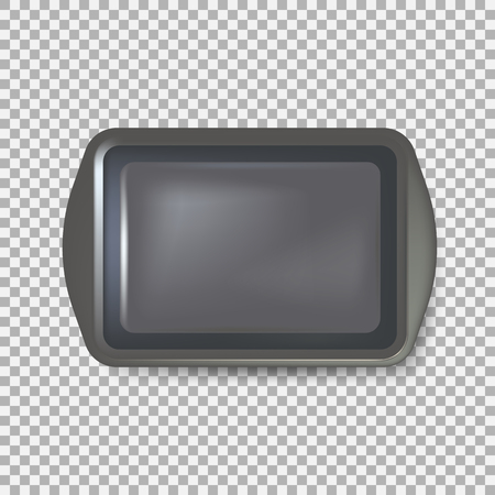 Top view of square black plate. Empty plastic tray. Metal tray salver with Handles. isolated on background. Vector illustration. Eps 10.