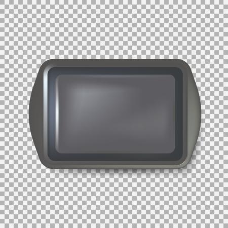 Vista superior de la placa cuadrada negra. Bandeja de plástico vacía. Bandeja de metal con asas. aislado en el fondo Ilustración vectorial Eps 10.