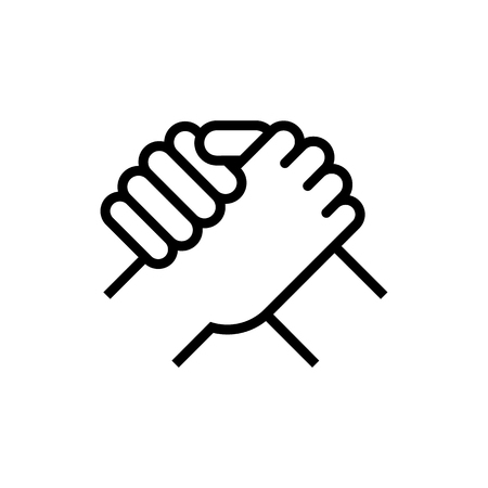 Handshake of business partners. Human greeting. Arm wrestling symbol. Vector illustration. Eps 10.