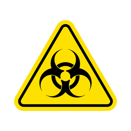 Znak ostrzegawczy wirusa. Ikona zagrożeń biologicznych. Symbol zagrożenia biologicznego. samodzielnie na białym tle. Ilustracji wektorowych. Eps 10.