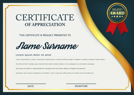 Creative certificate of appreciation award template. Certificate template design with best award symbol and blue and golden shapes and badge. Vector illustration. Eps 10. Çizim