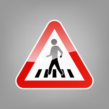 Triangular warning sign for pedestrian crossing