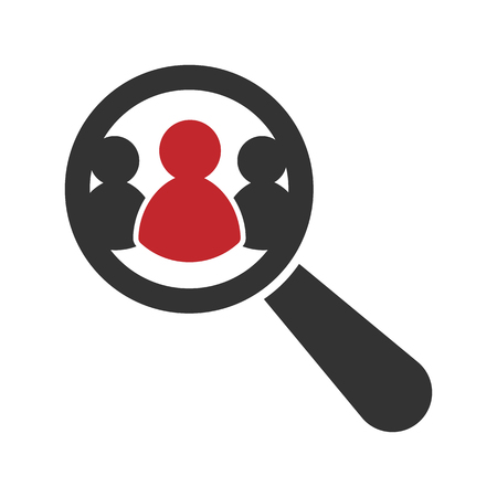 Magnifying glass looking for people icon. Иллюстрация