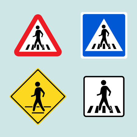 Set of pedestrian crossing signs Illustration